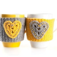 Crochet mug cozy warmer, Mug warmer, heart, cup cozy, winter accessories, tea cozy, Yellow and Gray, Set of 2, Available in two sizes