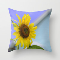 Summer Cottage Sunflower Throw Pillow by Wood-n-Images