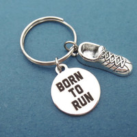 Born to run, Marathoner, Runner, Jogging, Sneakers, Keychain, Keyring, Key chain, Key ring, Running, Shoes, Key, Chain, Jewelry, Accessory