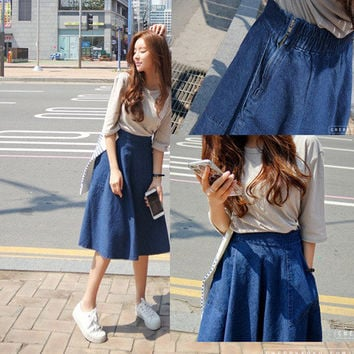 A-line Flared Pleated Slim Denim Middle Skirt