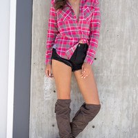 Mellow Flannel Top - Red/Brown