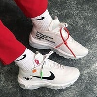 Nike Air Max 97 x OFF-WHITE Trending Women Men Stylish Running Sport Shoes Sneakers White I/A