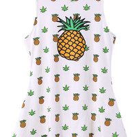 ROMWE Pineapples Print Flouncing Sleeveless Dress