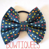 Navy Triangle Pattern Bow, Navy  Hair Tie, Navy Pony Tail Holder,Triangle Pattern Bow Clip