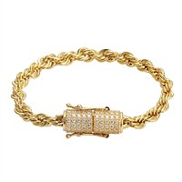 Stainless Steel 14k Gold Finish 6mm Rope Bracelet Designer New Iced Out Lock