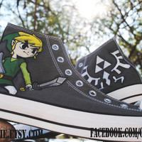 The Legend of Zelda / Tri-Force Hand-Painted High Tops