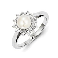 Cubic Zirconia & Pearl Ring in Sterling Silver - Round - Fine - Glossy Polish