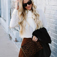 Brown Suede Scalloped Skirt-FINAL SALE