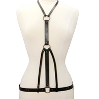 Black Leather Strap Body Harness