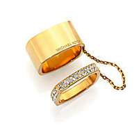 Michael Kors - Heritage Logo Pavé Chained Square Ring Set - Saks Fifth Avenue Mobile