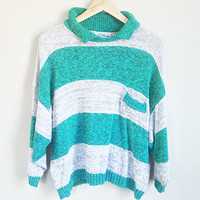 Vintage Striped Sweater --  80s Sweater -- Slouchy Oatmeal Sweater -- Oversized Knit Pullover -- Turquoise & Grey -- Collar -- Womens Large