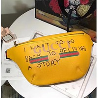 Gucci Fashion Trending Women Print Leather Waist bag Shoulder Bag Crossbody yellow G