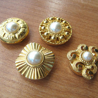 Button Covers Gold Tone Faux Pearl 4 in lot