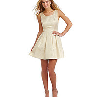 GB Pleated Bow-Back Dress - Gold