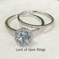 Round Aquamarine Engagement Ring Sets Pave Diamond Wedding 14K White Gold 7mm