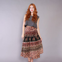 70s Ethnic WRAP SKIRT / 1970s Indian Cotton with Birds Camels & Paisley Midi