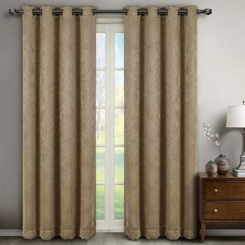 Taupe Bella Blackout Weave Window Curtain Panels (Two Panels )
