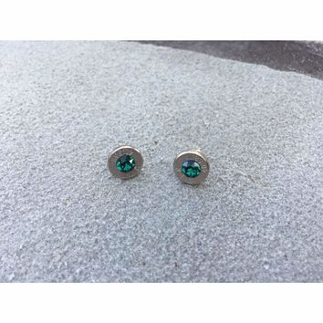 Handcrafted Bullet Earrings with colored Swarovski Crystal centers