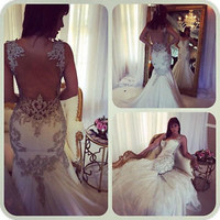 Straps Beading Long Mermaid Wedding Dress Bridal Gown Custom Size 6 8 10 12 14+
