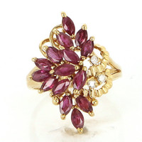 Vintage 14 Karat Yellow Gold Natural Ruby Diamond Cluster Cocktail Ring Estate