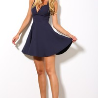 HelloMolly | Love Is In The Air Dress - Sleeveless navy skater dress Cross-strapped back
