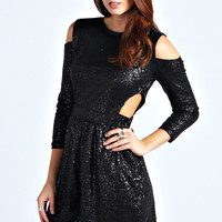 Nala Long Sleeved Cut Out Shoulder Playsuit