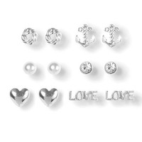 Nautical Themed LOVE Stud Earrings Set of 6 | Claire's