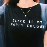 Black Happy T Shirt