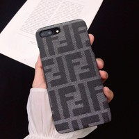 Gray FENDI Cover Case for iPhone 6 7 8 PLUS XSMAX XR