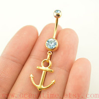 Anchor Belly Button Rings,anchor Navel Jewelry,gold anchor belly button ring,navy ring,summer jewelry
