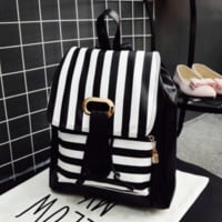 Black White Striped Leather Backpack Daypack