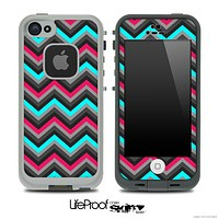 Sharp Pink & Teal Chevron Pattern Skin for the iPhone 5 or 4/4s LifeProof Case