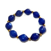 Bright Blue and Gold Beaded Stretch Bracelet, One Size Fits Most