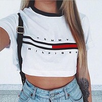 FREE SHIPPING Women's Fashion Hot Sale Alphabet Print Crop Top T-shirts