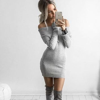 Winter Slim Long Sleeve Sweater Strapless Dress One Piece Dress [8014058310]