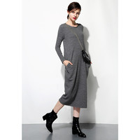 Textured Knit Sweater Dress With Pockets - FEW MODA
