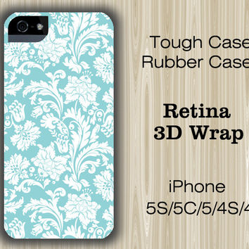 Light Blue Floral iPhone 6/5S/5C/5/4S/4 Case