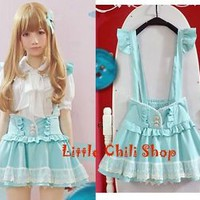 Trendy Sweet Cute Kawaii classical Punk Gothic Strap Mini shorts Skirts Blue