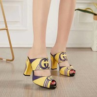 Gucci Sandals Fish Mouth Shoes 95mm Stiletto Heel Yellow Leather Casual Women Slippers