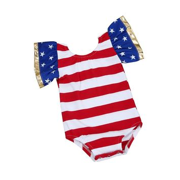 Toddler Baby Girl Stars and Stripes USA America 4th of July Romper One Piece Onesuit Bodysuit 3-18 Months