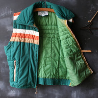 Vintage 70s Pacific Trail Vest Size Large Camping Green Orange Cream Quilted Cotton From Nowvintage on Etsy