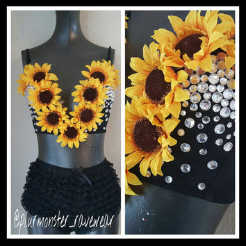 sunflower decorated plunge bra- rave plunge bra- sunflower sparkly rave u-plunge bra