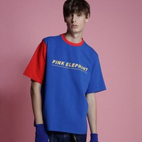 Pink Elephant Color Block Tee | Blue