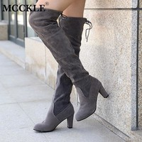 MCCKLE 2018 Fashion Female Winter Thigh High Boots Faux Suede Leather High Heels Women Over The Knee Shoes Plus Size 34-43