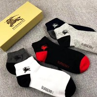BURBERRY New Embroidered War Horse Men's Cotton Socks Five-Piece Set