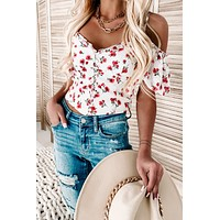 Francia Button-Front Floral Top (White)