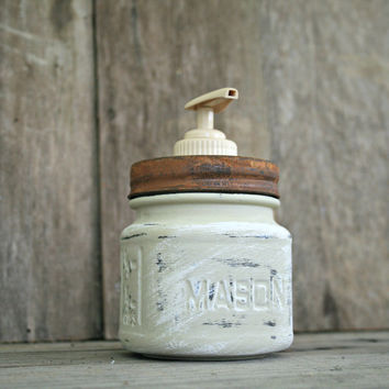 Mason Jar Soap Dispenser - Annie Sloan Chalk Paint Country Grey - Rustic, Country, Shabby Chic, Farmhouse, Vintage Style