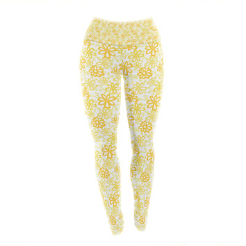 "Julie Hamilton ""Paper Daisy"" Yellow Yoga Leggings"