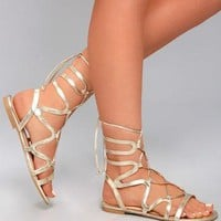 Tiara Gold Gladiator Sandals