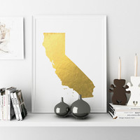 CALIFORNIA STATE Map Gold California Gold Color Map Print Personalized Home Town Art State Wall Decor Typography Art USA Decor Poster Print